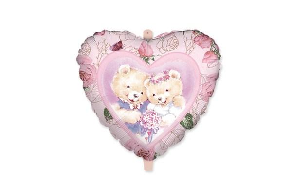 "PALLONCINO MYLAR TONDO LOVE BEAR DIAM. 18"" /45 CM -0"