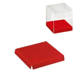FONDO RIALZATO PELLE ROSSA PER SCATOLA TRASPARENTE | L 4 X P 4 X H 1 cm (10 pezzi)-0