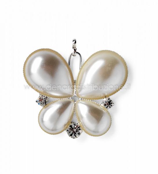 Farfalla perla con strass s/12