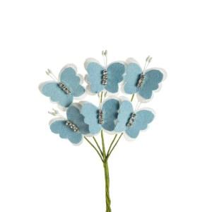 decorazioni bomboniere fiori farfalla strass celeste