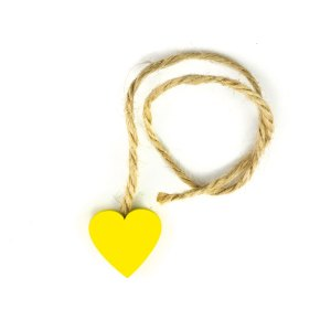 Decorazioni bomboniera corda cuore giallo