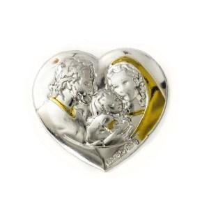Applicazione cuore sacra famiglia color sabbia oro
