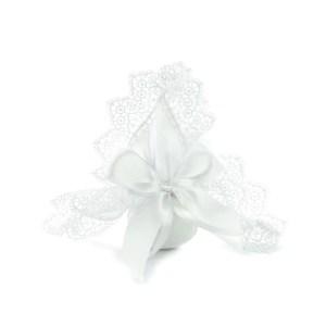 sacchetto portaconfetti fazzoletto bianco macrame
