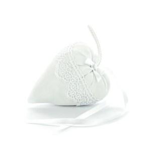 sacchetto bomboniera bianco cuore macramè