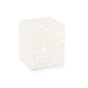 Scatola bomboniere pieghevole coperchio harmony bianco cm 10 x 10 x 15