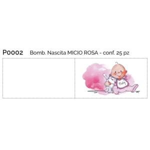 bigliettini bomboniera nascita micio rosa