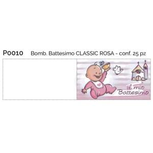 bigliettino bomboniera battesimo rosa