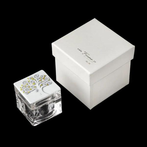 Scatolina Albero Della Vita Bianco Con Cuori Dorati E Box-0