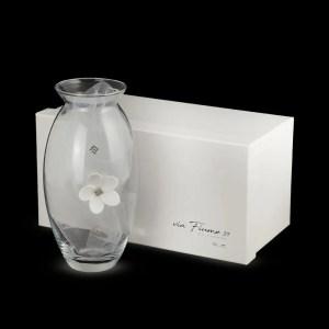 Vaso In Vetro Con Fiori E Strass H 19-0