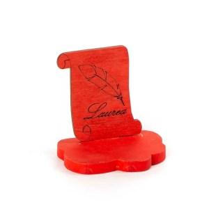 Bomboniera Laurea con pergamena rossa e Piuma Cm 8 (12 Pz)-0