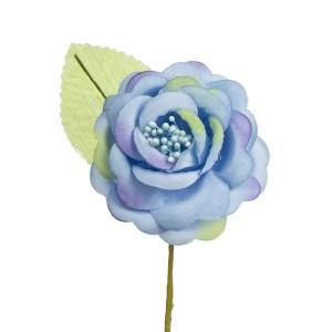 Fiore Bomboniera Rosa Aperta Con Foglia Lavanda (12 PZ)-0
