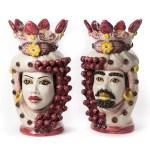 Testa di moro colorata rosso h 48 cm ceramica di caltagirone-0