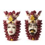 Teste di moro colorata rosso h 40 cm ceramica di caltagirone-0