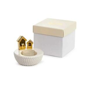 Bomboniera porta T-light con casette dorate con scatola-0