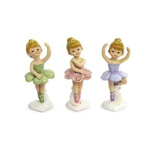Bomboniera ballerina in piedi in 3 colori assortiti (3pz)-0