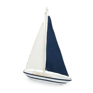 Bomboniera barca a vela bianca e blu grande-0