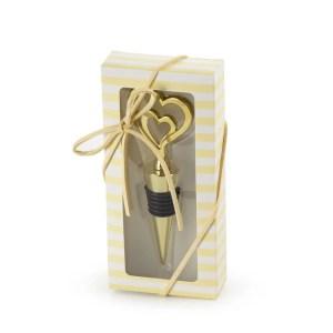 Bomboniera tappo con due cuori oro con scatola-0