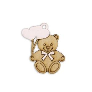 Applicazione bomboniera orsetto con cuoricini rosa (12pz)-0