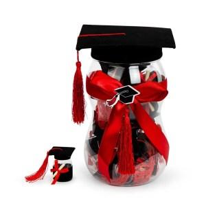 Bomboniera barattolo maxi contenitore per portaconfetti laurea con cappello nero-0