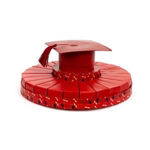 Torta bomboniere rossa laurea con cappello (24 fette) -0