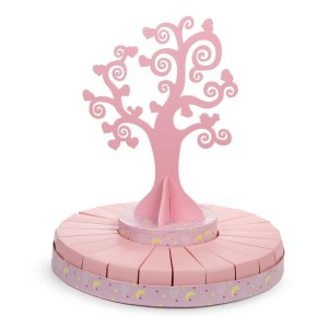 Torta bomboniere albero della vita rosa grande (24 fette + albero)-0
