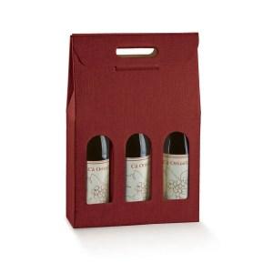 Astuccio Portabottiglia 3 Bottiglie Seta Bordeaux (5 PZ)-0