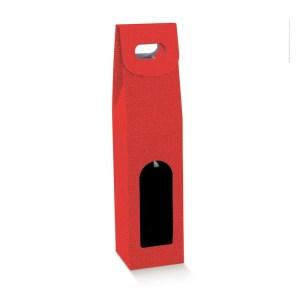 Astuccio Portabottiglia Lino Rosso 1 Bottiglia (10 PZ)-0
