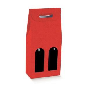 Astuccio Portabottiglia Lino Rosso 2 Bottiglie (5 PZ)-0