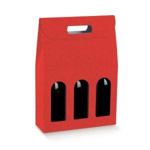Astuccio Portabottiglia Lino Rosso 3 Bottiglie (5 PZ)-0