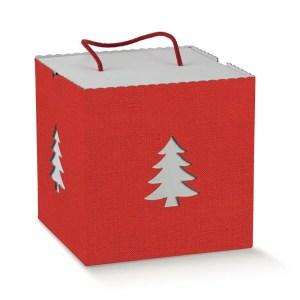 Scatola Panettone In Albero di Natale Lino Rosso Con Cordino 21 X 21 X 21 cm (2 PZ)-0