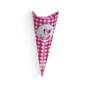 Cono Busta Portaconfetti Minnie Party Fucsia 19 cm (10 PZ)-0