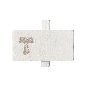 Targhetta Tau Piccola Bianca Con Molletta 4,5 X 2,3 cm (144 PZ)-0