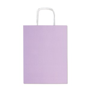 Shopper in carta millerighe con fianco a pois di colore Lilla H 41 cm (25 PEZZI)-0