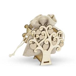 Bomboniera albero della vita in legno con sacchetto beige