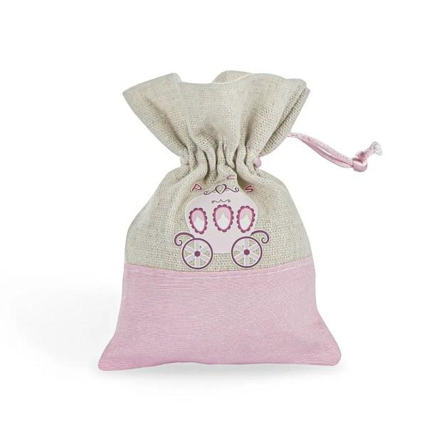 Sacchetto bomboniere nascita rosa con stampa carrozzina