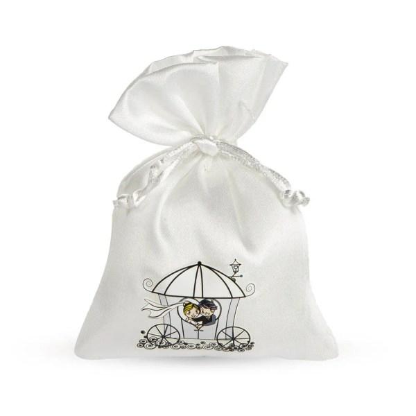 Sacchettino portaconfetti in raso bianco con stampa sposi
