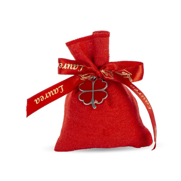 Sacchetto portaconfetti rosso con quadrifoglio