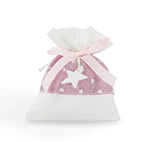 Portaconfetti nascita rosa con stella
