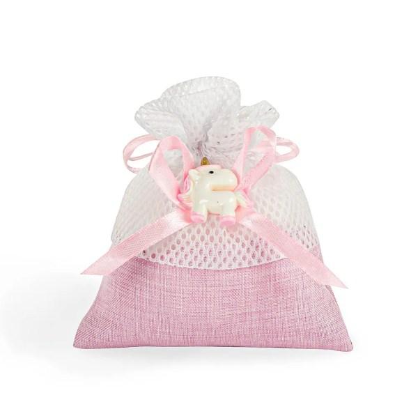 Sacchetto con tirante rosa con unicorno