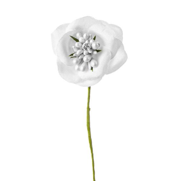 Applicazione fiore bianco con perla e punto luce