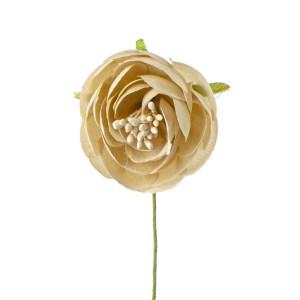 Applicazione fiore bottone con pistillo beige