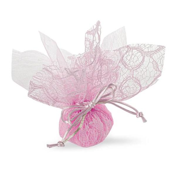 Portaconfetti rosa in pizzo con velo e tirante-0