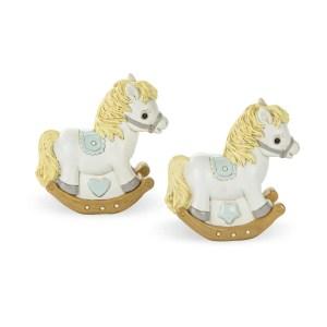 Bomboniera salvadanaio celeste cavallo a dondolo-0