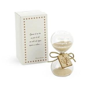 Bomboniera Clessidra in vetro con applicazione in legno e scatola.-0