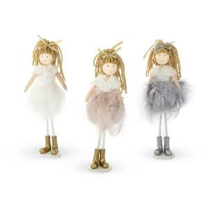 Bambola in tessuto con piume per bomboniera comunione bimba -0