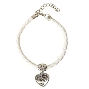 Bracciale Bianco con albero in zama all'interno di un cuore.-0
