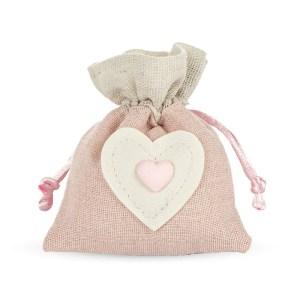 Bomboniera portaconfetto rosa con decorazione cuore-0