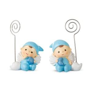 Bomboniera baby angelo memoclip blu