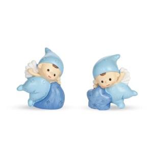 Baby angelo mini blu in resina