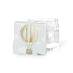 Bomboniera scatola in vetro mongolfiera avorio con box